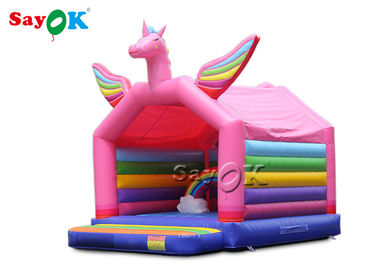 5x4mH Princess Pink Rainbow Unicorn Inflatable Bounce Castle For Kid